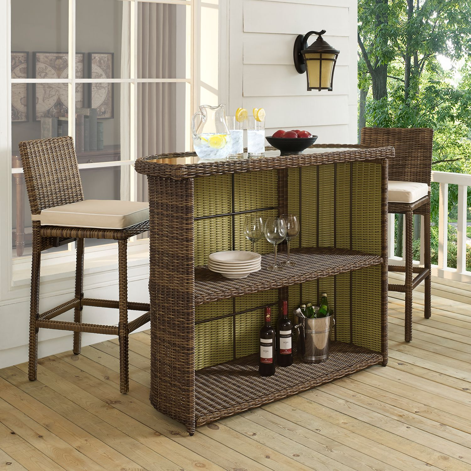 Outdoor Furniture - Destin Outdoor Bar and 2 Barstools