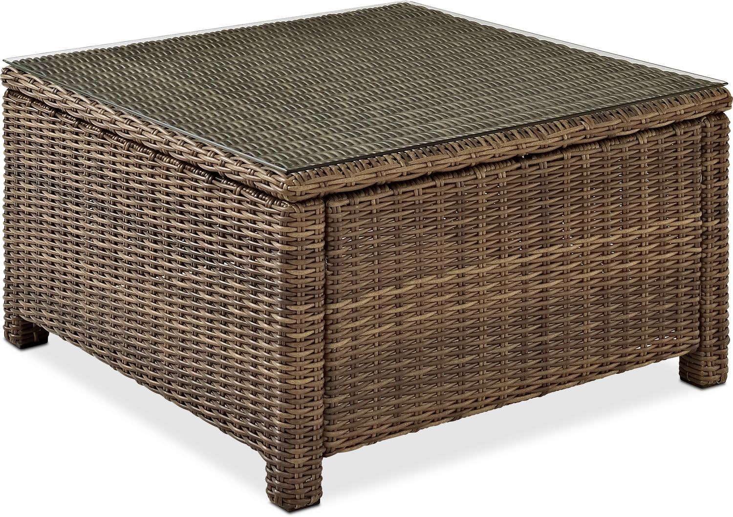 Outdoor Furniture - Destin Outdoor Square Coffee Table - Brown