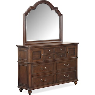 Charleston Dresser and Mirror - Tobacco
