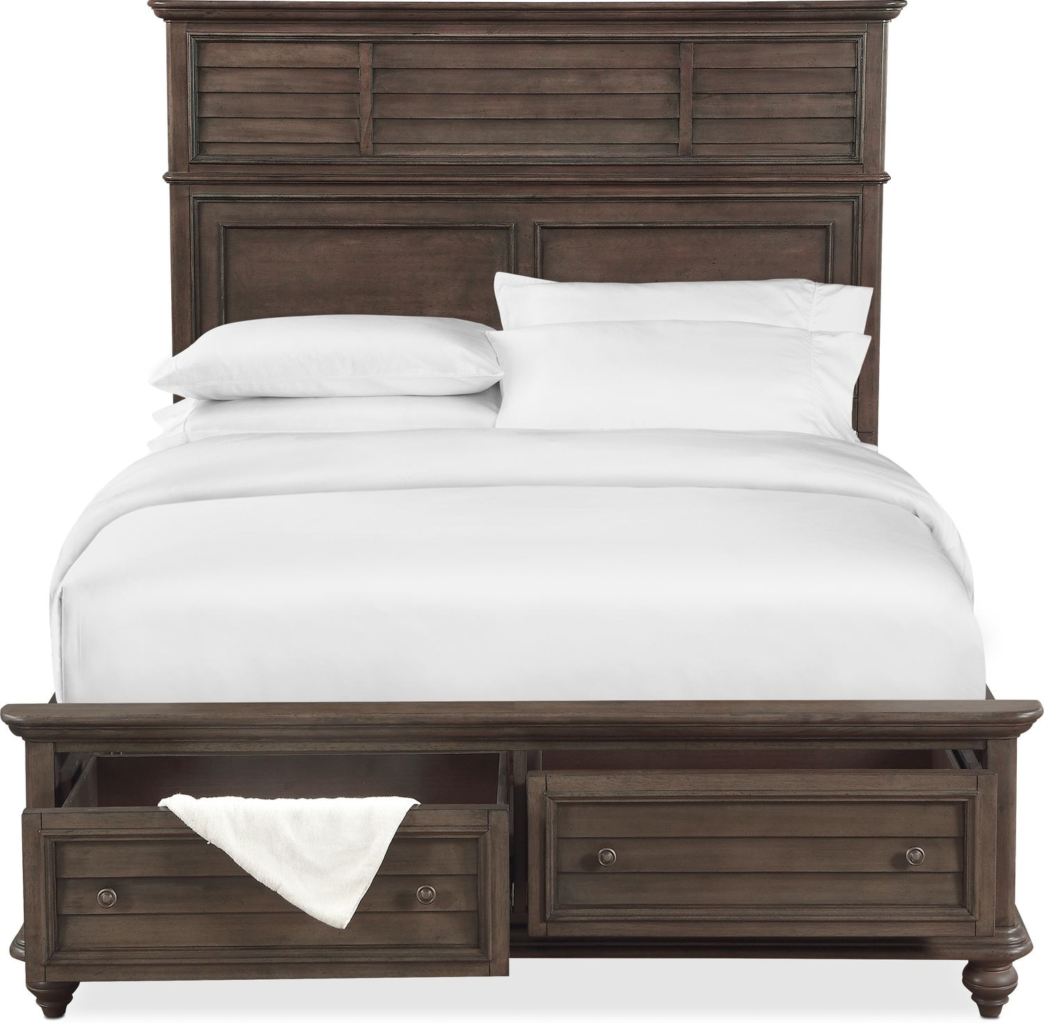 Charleston queen panel bed with 2 underbed drawers gray american signature furniture Queen bedroom sets with underbed storage