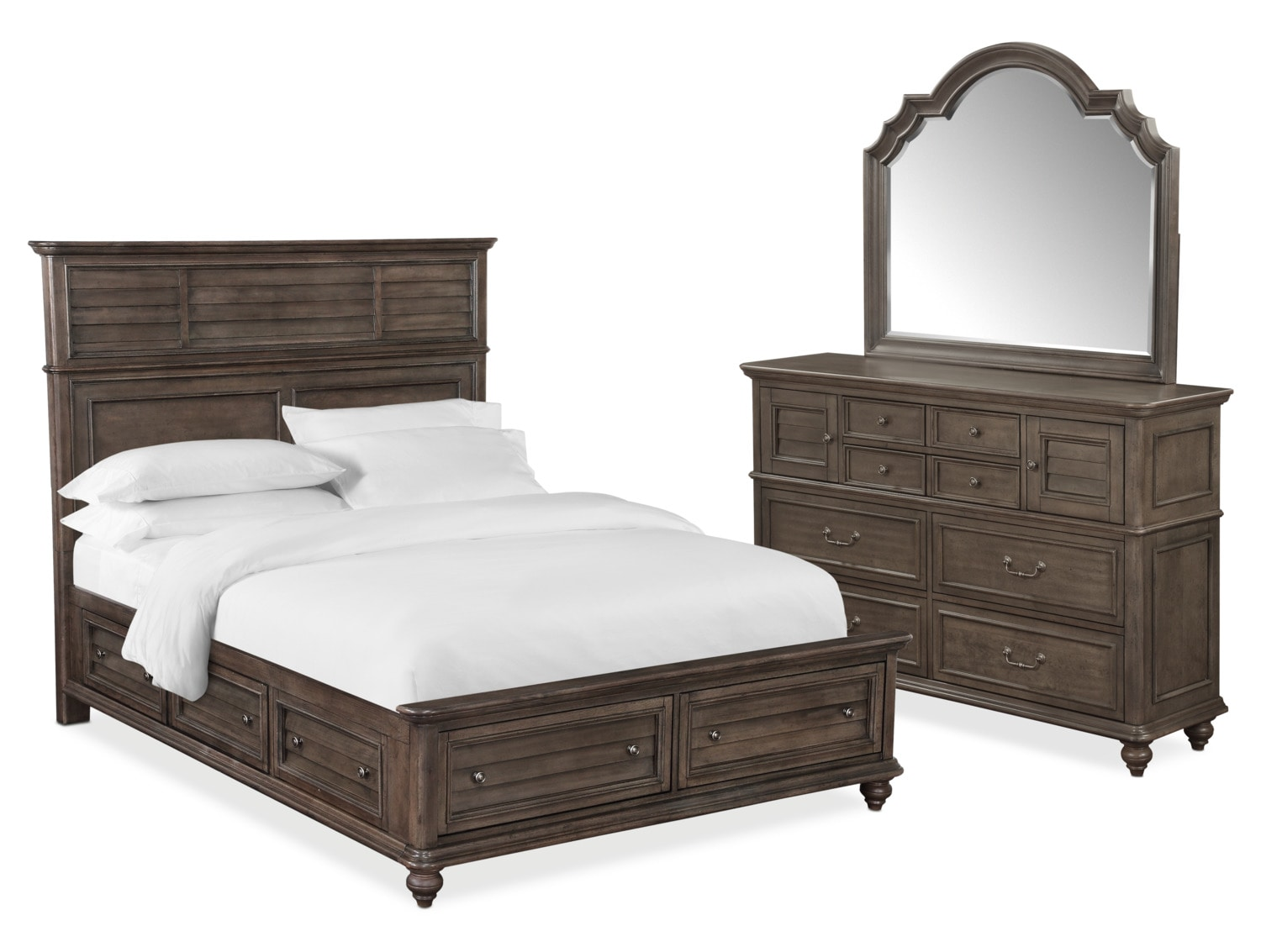 Bedroom Furniture - Charleston 5-Piece Panel Bedroom Set with 6 Underbed Drawers, Dresser and Mirror
