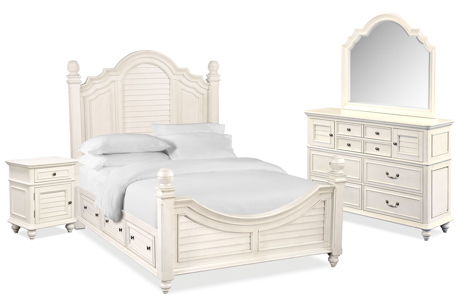 Charleston 6 piece queen poster bedroom set with 4 underbed drawers white american signature for Bedroom set with storage drawers