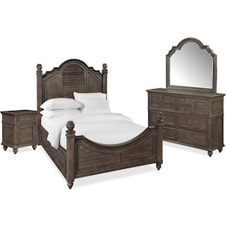 Charleston 6-Piece Poster Bedroom Set with 4 Underbed Drawers, Nightstand, Dresser and Mirror