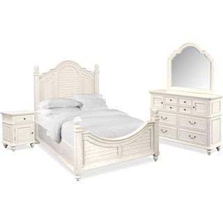 Charleston 6-Piece Queen Poster Bedroom Set - White