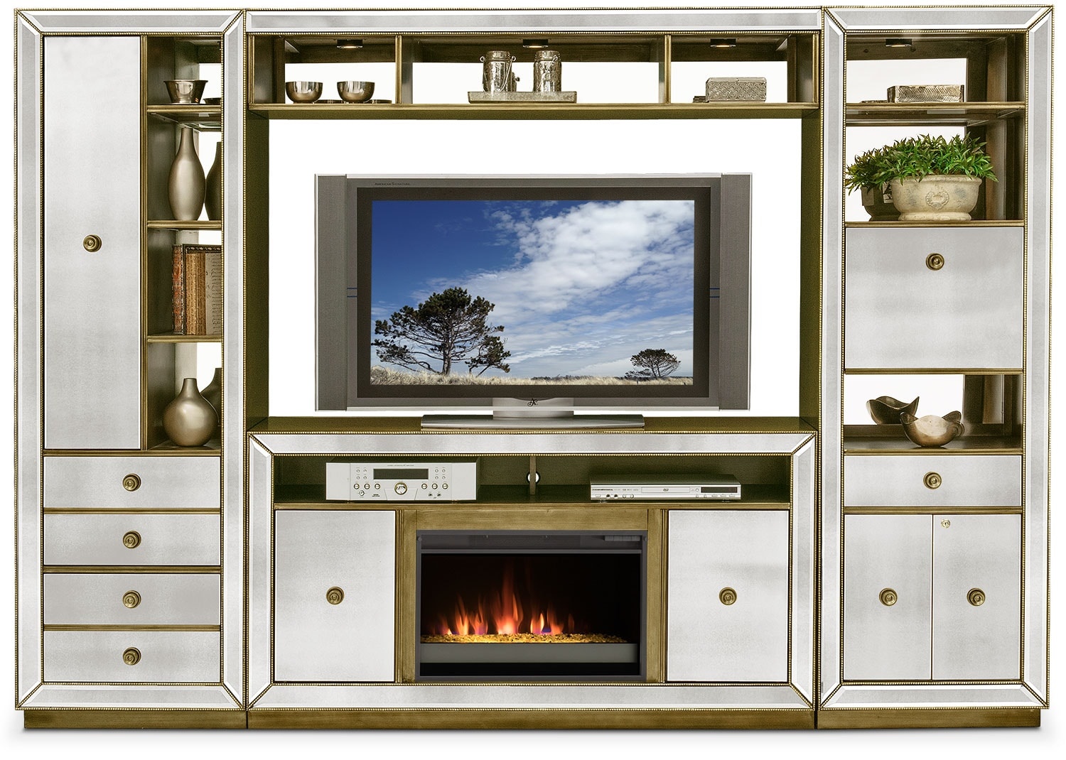 Charmant Reflection 4 Piece Entertainment Wall Unit With Contemporary Fireplace    Mirror