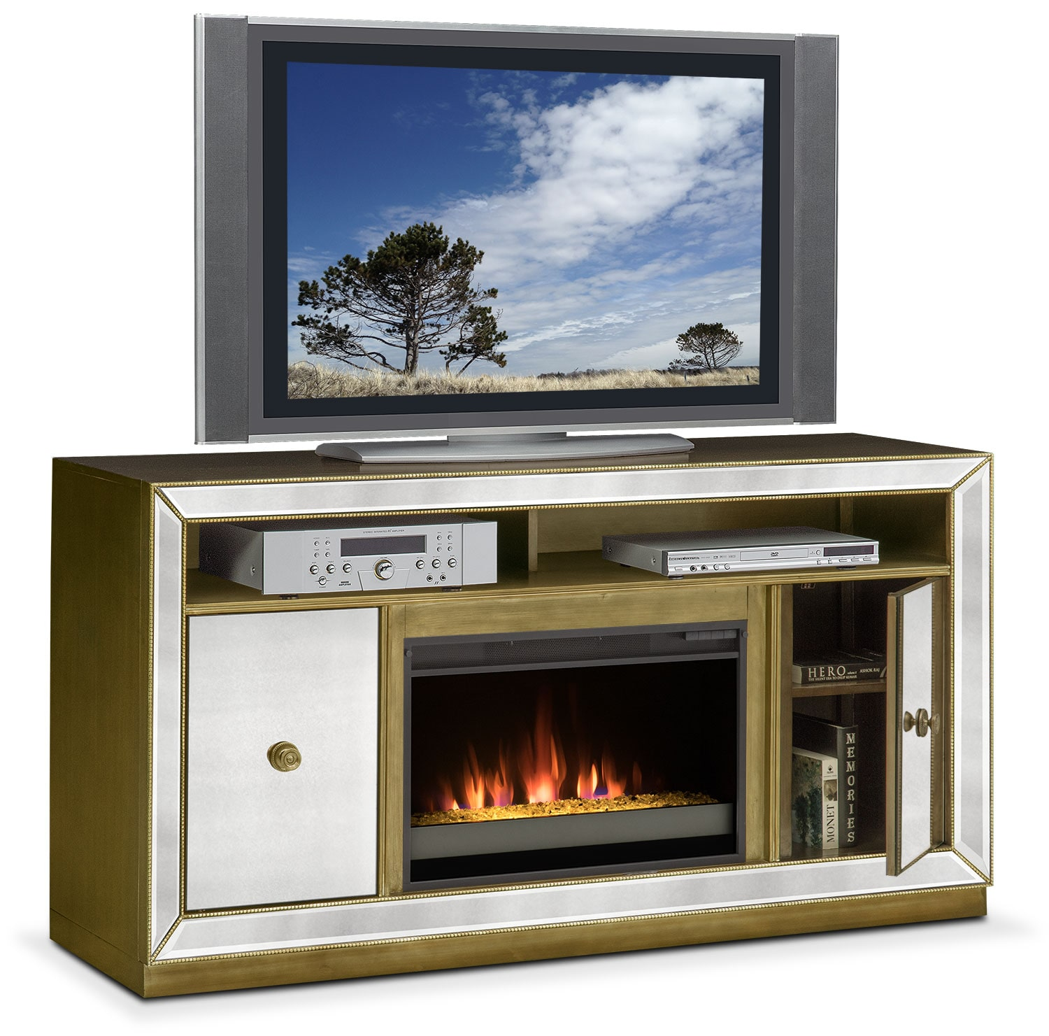 Reflection Contemporary Fireplace Tv Stand Mirror American Signature Furniture