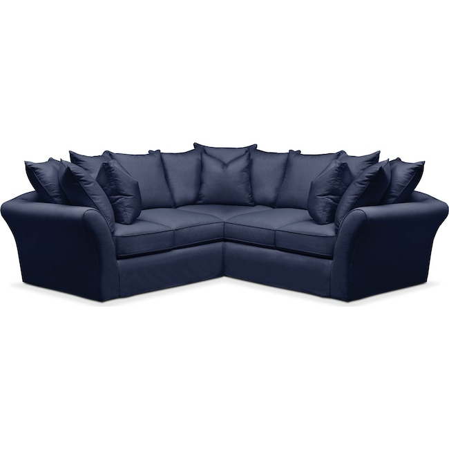 Living Room Furniture - Allison 2 Pc. Sectional with Right Facing Loveseat- Comfort in Oakley III Ink