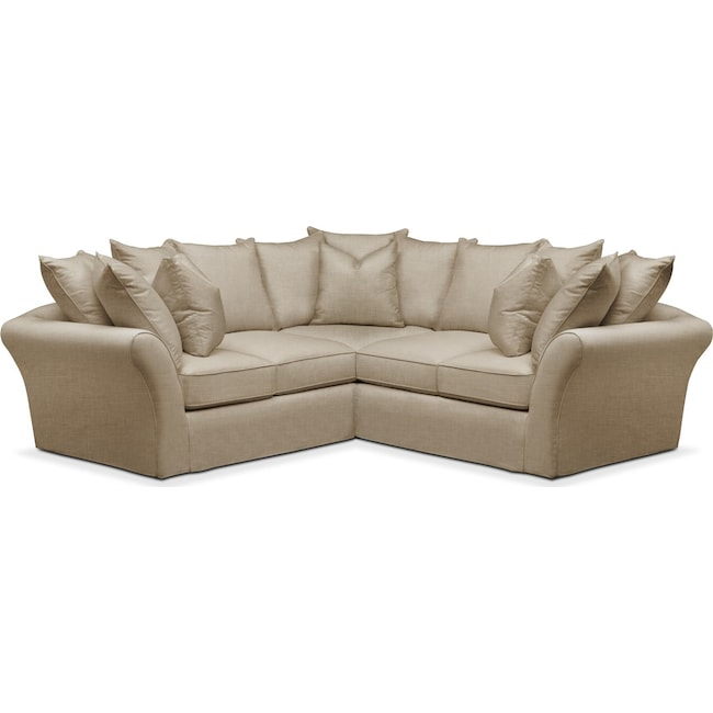 Living Room Furniture - Allison 2 Pc. Sectional with Right Facing Loveseat- Comfort in Milford II Toast
