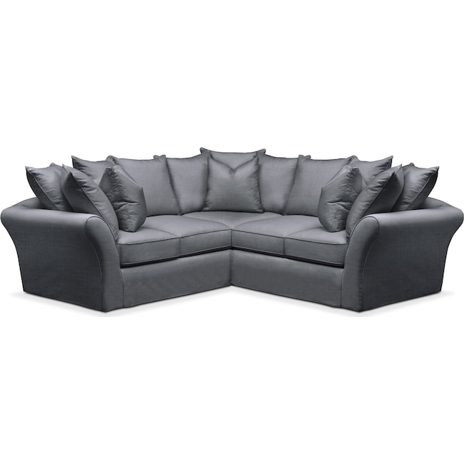 Living Room Furniture - Allison 2 Pc. Sectional with Right Facing Loveseat- Comfort in Milford II Charcoal