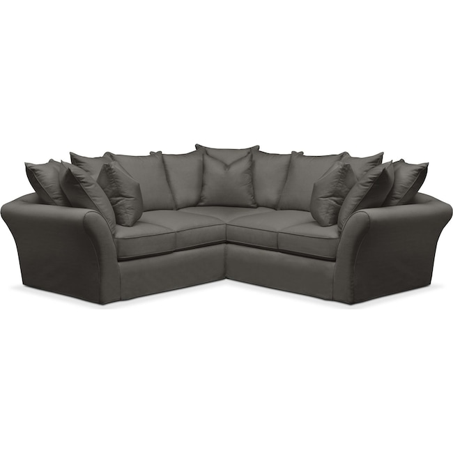 Living Room Furniture - Allison 2 Pc. Sectional with Right Facing Loveseat- Comfort in Statley L Sterling