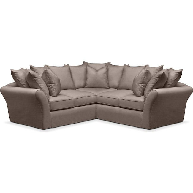 Living Room Furniture - Allison 2-Piece Sectional with Right-Facing Loveseat - Comfort in Hugo Mocha