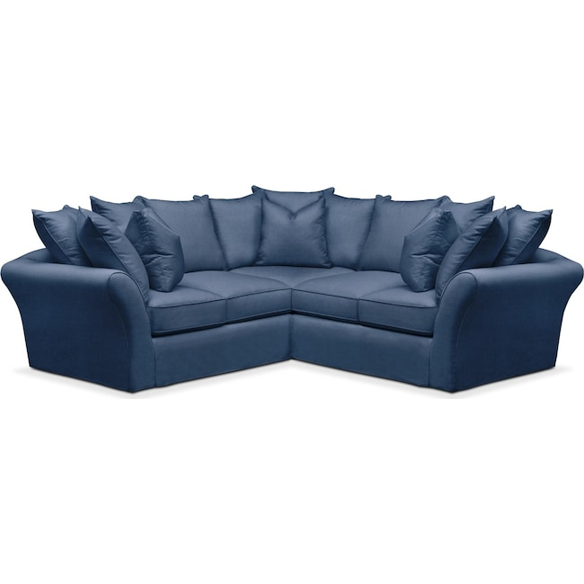 Living Room Furniture - Allison 2 Pc. Sectional with Right Facing Loveseat- Comfort in Hugo Indigo