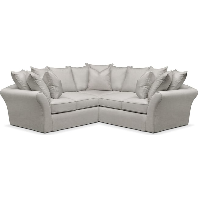 Living Room Furniture - Allison 2 Pc. Sectional with Right Facing Loveseat- Comfort in Dudley Gray