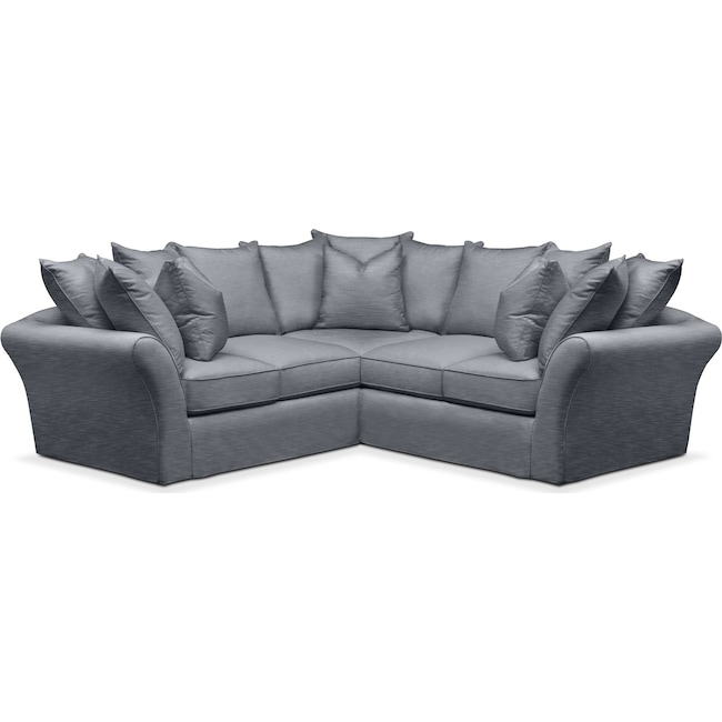 Living Room Furniture - Allison 2-Piece Sectional with Right-Facing Loveseat - Comfort in Dudley Indigo