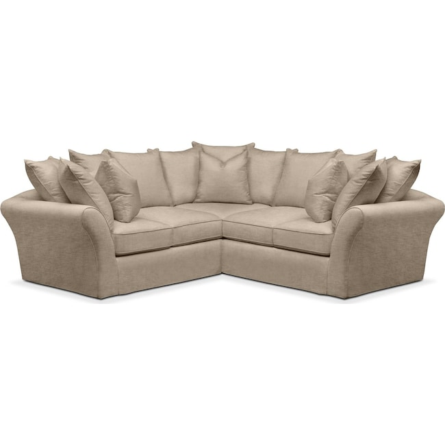 Living Room Furniture - Allison 2-Piece Sectional with Right-Facing Loveseat - Comfort in Dudley Burlap