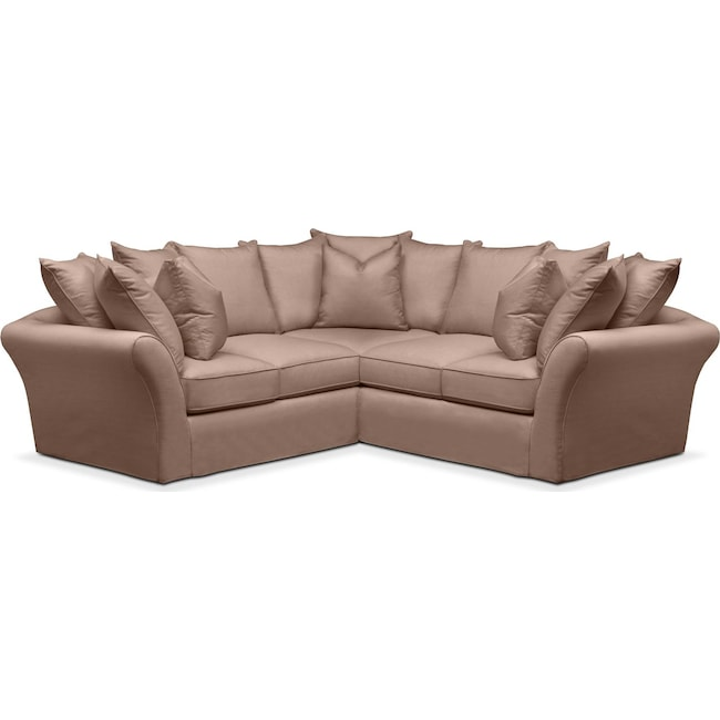 Living Room Furniture - Allison 2 Pc. Sectional with Right Facing Loveseat- Comfort in Abington TW Antler