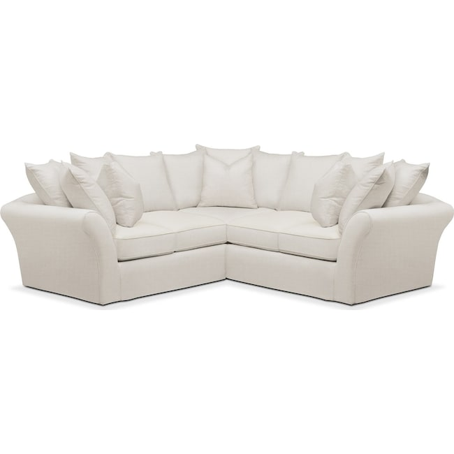 Living Room Furniture - Allison 2 Pc. Sectional with Right Facing Loveseat- Comfort in Anders Ivory