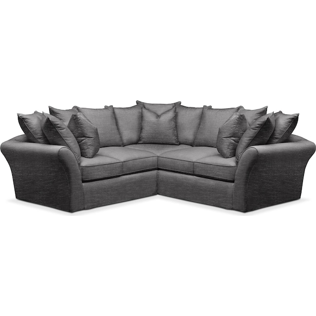 Living Room Furniture - Allison 2 Pc. Sectional with Right Facing Loveseat- Cumulus in Curious Charcoal