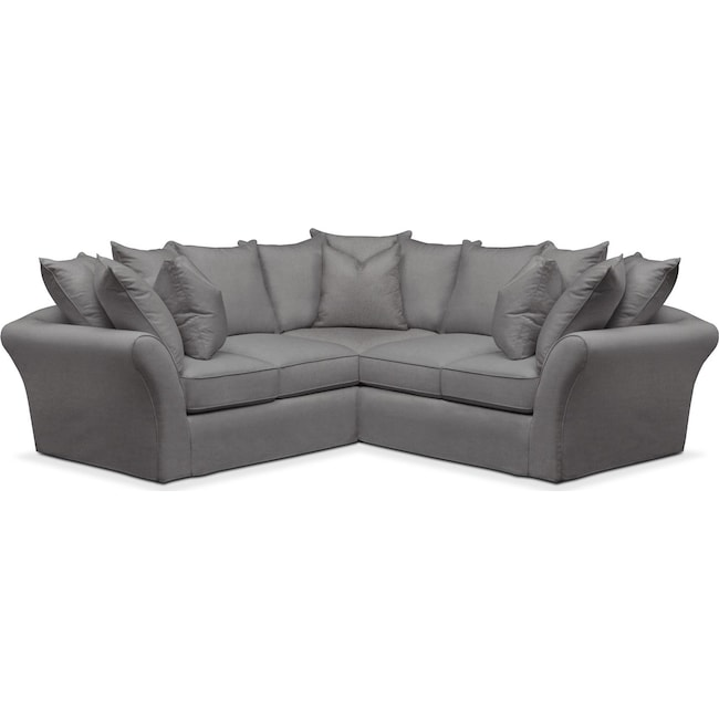 Living Room Furniture - Allison 2 Pc. Sectional with Right Facing Loveseat- Cumulus in Hugo Graphite