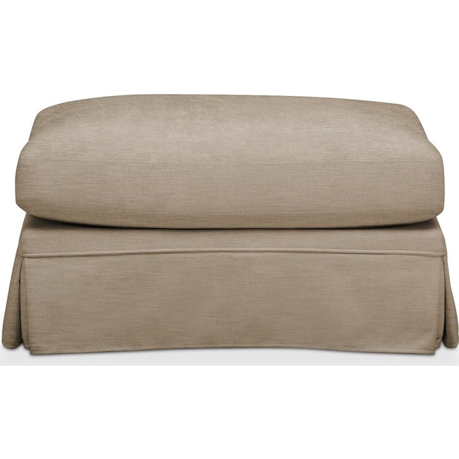 Living Room Furniture - Campbell Ottoman- Comfort in Dudley Burlap
