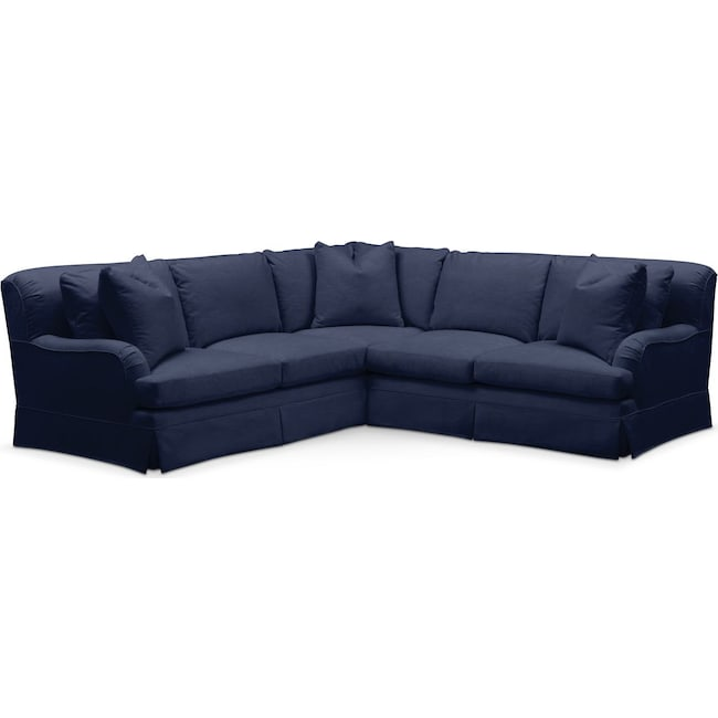 Living Room Furniture - Campbell 2 Pc. Sectional with Right Arm Facing Loveseat- Comfort in Oakley III Ink