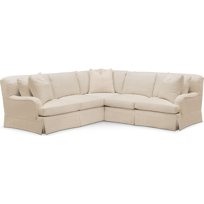 Living Room Furniture - Campbell 2 Pc. Sectional with Right Arm Facing Loveseat- Comfort in Victory Ivory