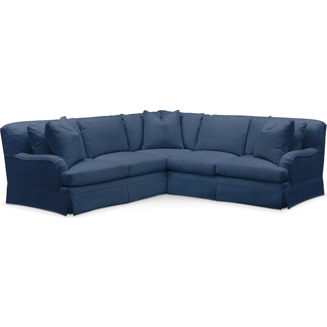 Living Room Furniture - Campbell 2 Pc. Sectional with Right Arm Facing Loveseat- Comfort in Hugo Indigo