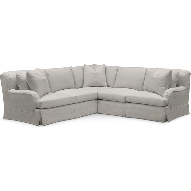 Living Room Furniture - Campbell 2 Pc. Sectional with Right Arm Facing Loveseat- Comfort in Dudley Gray