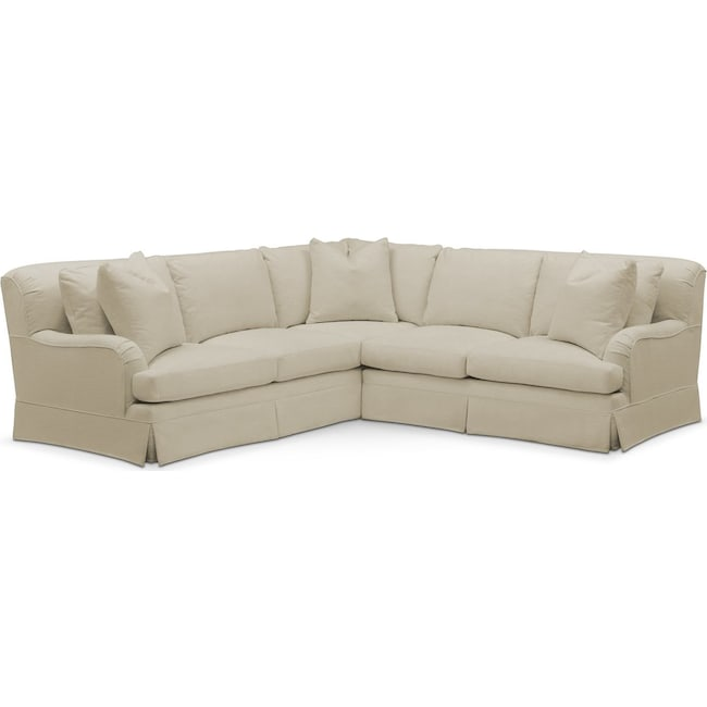 Living Room Furniture - Campbell 2 Pc. Sectional with Right Arm Facing Loveseat- Comfort in Abington TW Barley