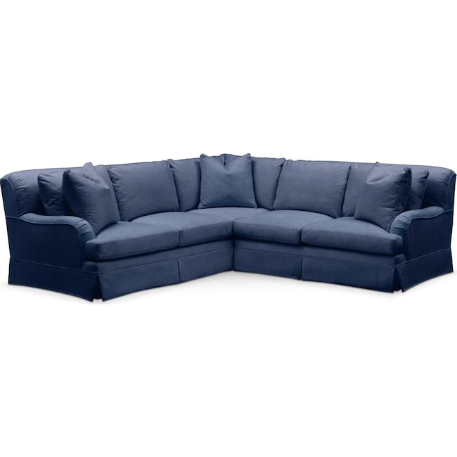 Living Room Furniture - Campbell 2 Pc. Sectional with Right Arm Facing Loveseat- Comfort in Abington TW Indigo