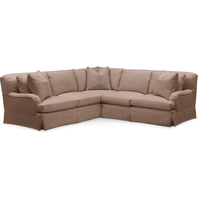 Living Room Furniture - Campbell 2 Pc. Sectional with Right Arm Facing Loveseat- Comfort in Abington TW Antler