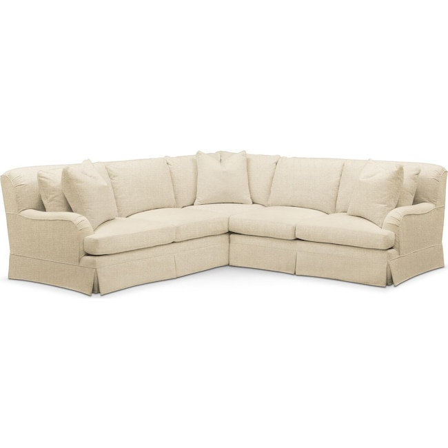 Living Room Furniture - Campbell 2 Pc. Sectional with Right Arm Facing Loveseat- Comfort in Anders Cloud