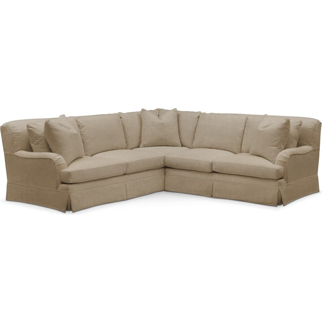 Living Room Furniture - Campbell 2 Pc. Sectional with Right Arm Facing Loveseat- Cumulus in Milford II Toast
