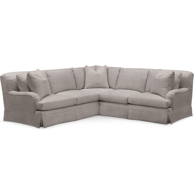 Living Room Furniture - Campbell 2 Pc. Sectional with Right Arm Facing Loveseat- Cumulus in Curious Silver Rine