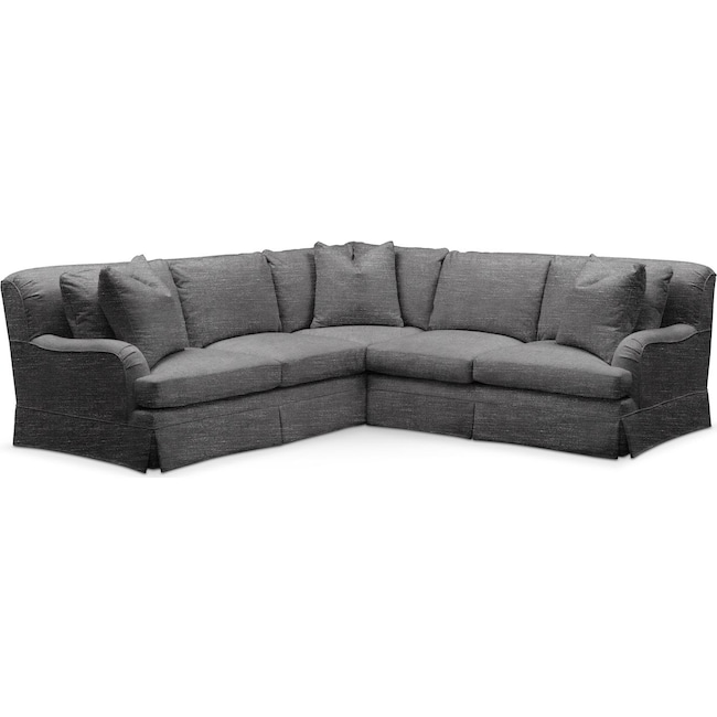 Living Room Furniture - Campbell 2 Pc. Sectional with Right Arm Facing Loveseat- Cumulus in Curious Charcoal