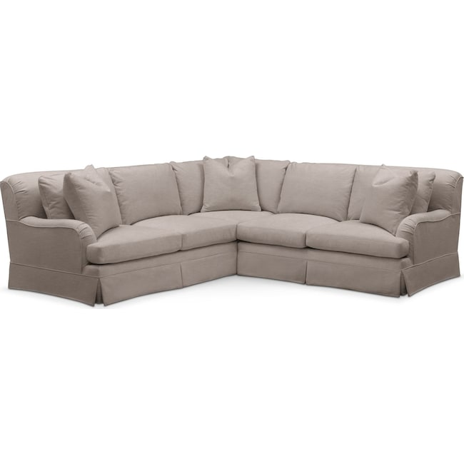 Living Room Furniture - Campbell 2 Pc. Sectional with Right Arm Facing Loveseat- Cumulus in Abington TW Fog