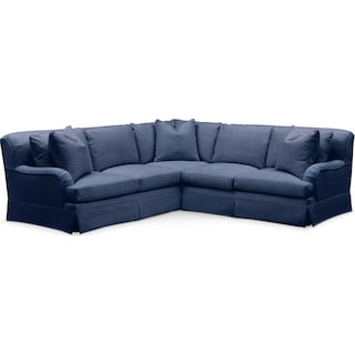 Campbell 2 Pc. Sectional with Right Arm Facing Loveseat- Cumulus in Abington TW Indigo