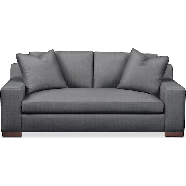 Living Room Furniture - Ethan Apartment Sofa- Comfort in Depalma Charcoal