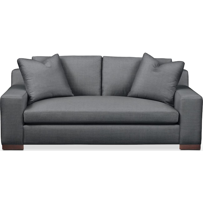 Living Room Furniture - Ethan Apartment Sofa- Comfort in Milford II Charcoal