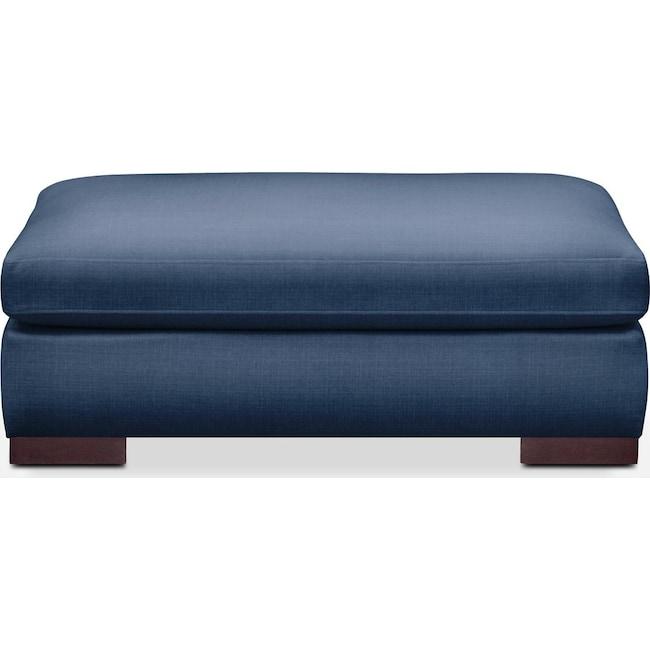 Living Room Furniture - Ethan Ottoman- Comfort in Hugo Indigo