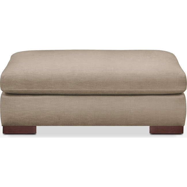 Living Room Furniture - Ethan Ottoman- Comfort in Dudley Burlap