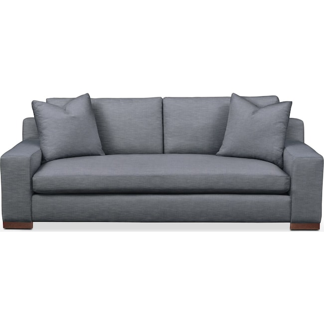 Living Room Furniture - Ethan Sofa- Comfort in Dudley Indigo