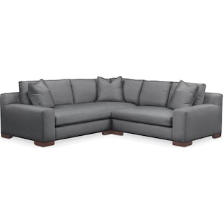 Ethan Comfort 2 Piece Small Sectional with Right-Facing Loveseat - Depalma Charcoal