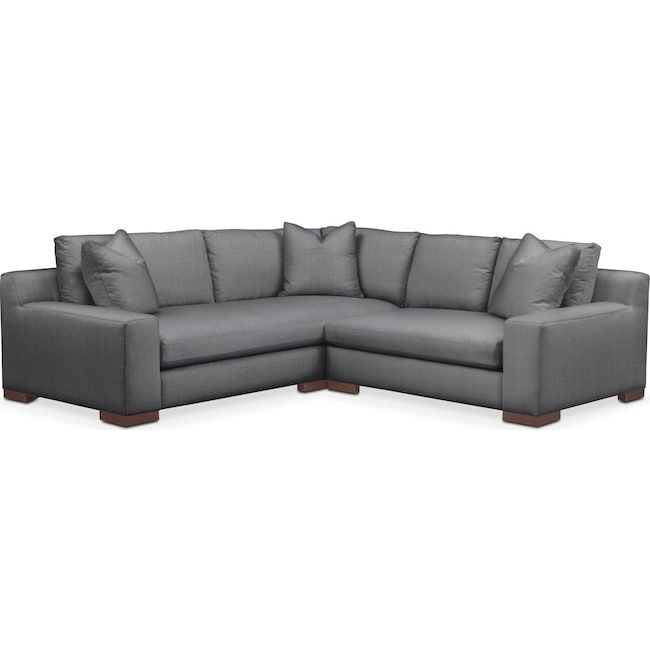 Living Room Furniture - Ethan 2 Pc. Sectional with Right Arm Facing Loveseat- Comfort in Depalma Charcoal