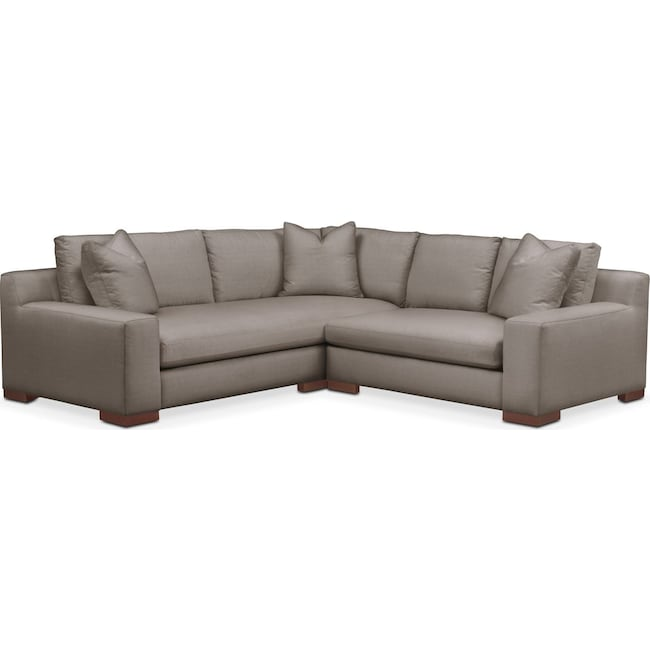 Living Room Furniture - Ethan 2 Pc. Sectional with Right Arm Facing Loveseat- Comfort in Oakley III Granite