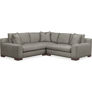Ethan Comfort 2 Piece Small Sectional with Right-Facing Loveseat - Victory Smoke