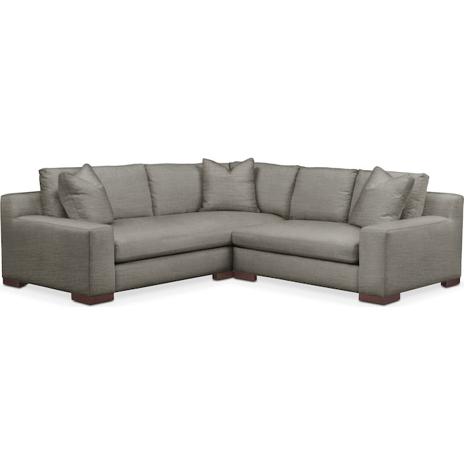 Living Room Furniture - Ethan 2 Pc. Sectional with Right Arm Facing Loveseat- Comfort in Victory Smoke
