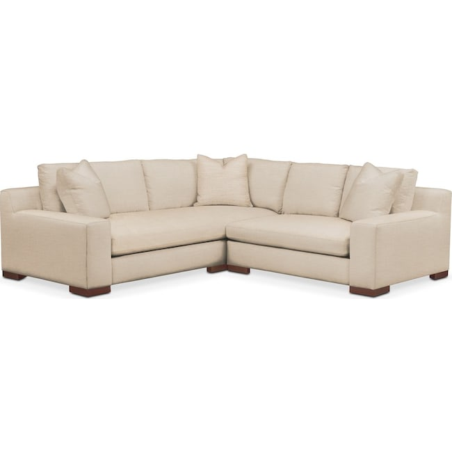Living Room Furniture - Ethan 2 Pc. Sectional with Right Arm Facing Loveseat- Comfort in Victory Ivory