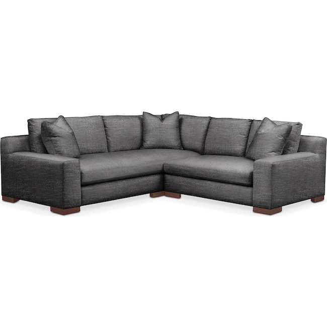Living Room Furniture - Ethan 2 Pc. Sectional with Right Arm Facing Loveseat- Comfort in Curious Charcoal