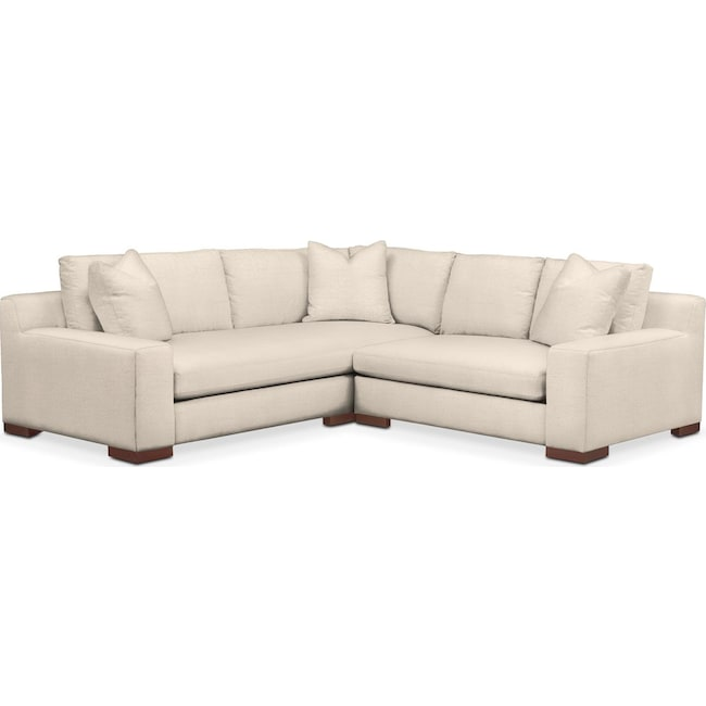 Living Room Furniture - Ethan 2-Piece Sectional with Right-Facing Loveseat - Comfort in Curious Pearl
